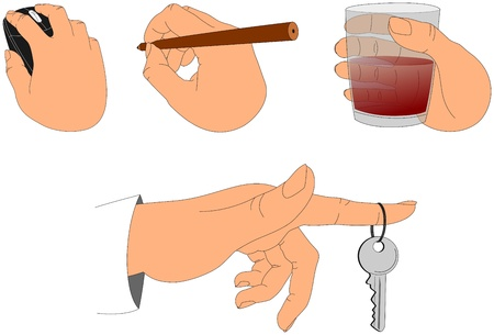 hand holding pen: Hands holding various objects