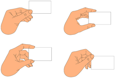 blank business card: Hand holding blank business card in various positions Illustration