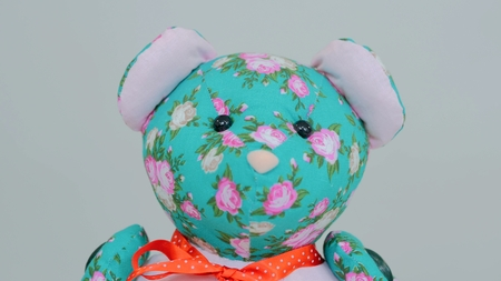 Close up view of teddy bear. White background. Selective focus with shallow depth of field