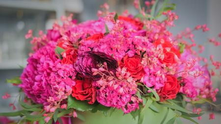 Beautiful wedding bouquet in florist studio. Floristry and handmade concept