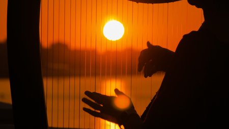 Close up shot - woman hands playing harp on city embankment at sunset. Music, leisure and culture concept