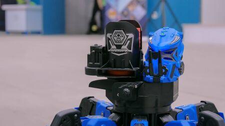 NIZHNIY NOVGOROD, RUSSIA - August 7, 2017: The Exhibition Park Of Robots. Portrait of blue battle robot spider at the exhibition of robotic technology - close up view. Future and technology concept
