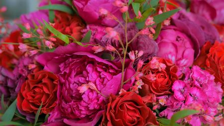 Close up shot of beautiful wedding bouquet at workshop, flower shop. Floristry and handmade concept Banco de Imagens