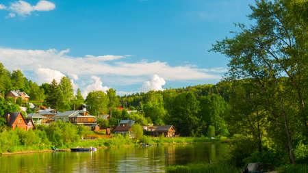 Village near river - rural landscape - russian historical town Plyos on the Volga River