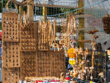 KAZAN, RUSSIA - AUGUST 30, 2018: Krutushka Ethnic Festival. Different accessories - headbands, amulets in showcase art souvenir market Editorial