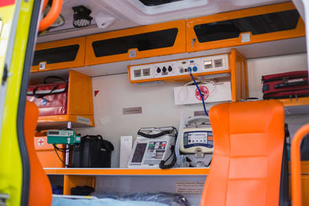 NIZHNY NOVGOROD, RUSSIA - November 15, 2018: Specialized exhibition Security, protection, salvation. Inside an ambulance with medical equipment Editorial