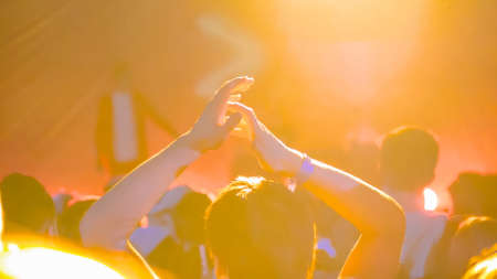 Teenage boy partying, cheering, raising hands up and clapping at rock concert in front of stage of nightclub - back view. Bright colorful stage lighting. Nightlife and entertainment concept
