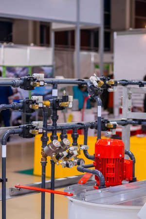 Gas delivery system with pipes or tubes at plant, factory. Engineering, equipment, industry, industrial, and technology concept