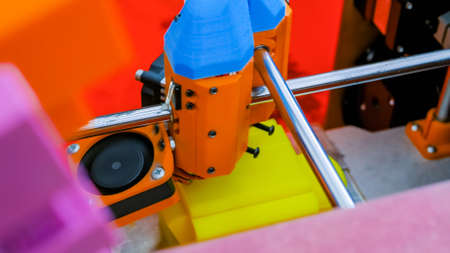 Handmade three dimensional printer during work at 3d science technology exhibition - close up view. DIY, 3D printing, additive technologies, engineering and prototyping industry concept Stok Fotoğraf
