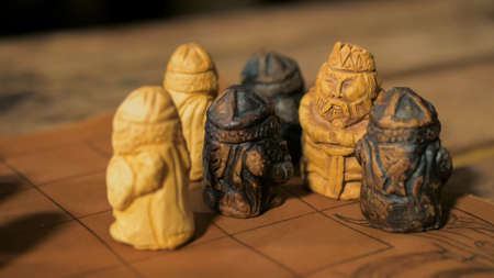 Medieval popular strategy board game - tafl. Folk, competition and traditional concept