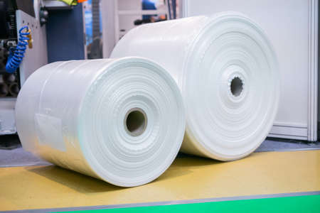 Transparent plastic roll bags at package exhibition, trade show