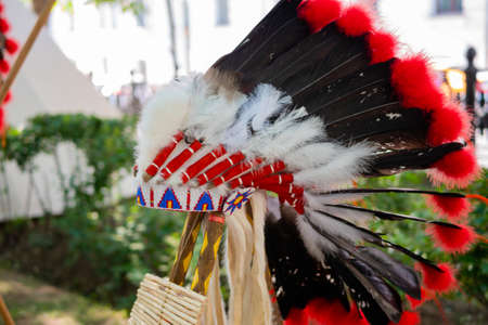 Roach - traditional Native American male headdress at summer outdoor historical festival: close up - nobody, no people. Ethnic, costume, culture, traditional and reenactment concept Standard-Bild