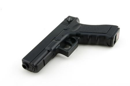 airsoft gun: Automatic Airsoft Gun on White Background Stock Photo