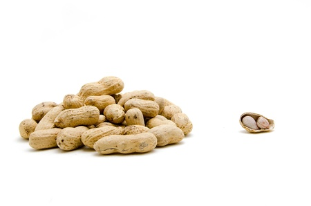 earthnuts: Roasted Peanuts on White Background