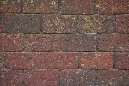laterite: Red laterite brick wall  Stock Photo
