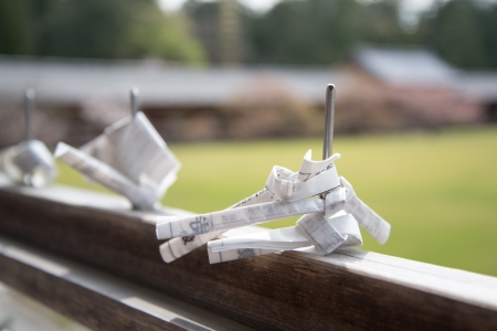 todaiji: Paper prayers and wishes folded and tied at Todaiji temple  Stock Photo