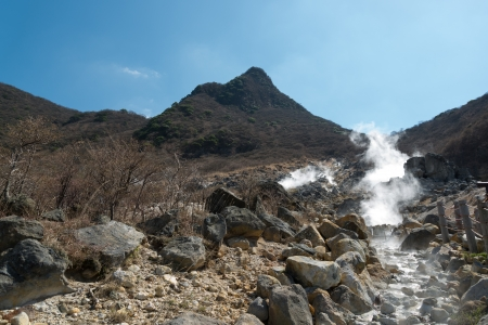 sulfur: Volcanic gas and sulfur are emitted, Owakudani Valley, Japan