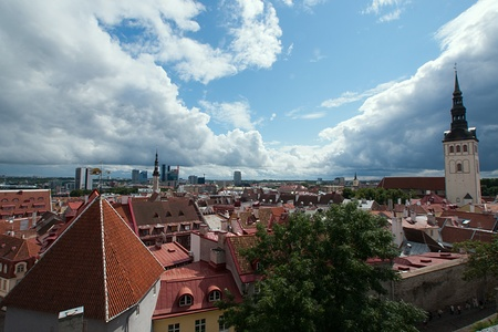 Survey panorama from a roof of the old city of Tallinn photo