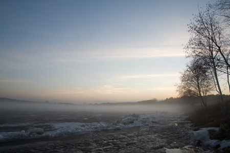 Fog on the river in spring day Stock Photo - 13344933