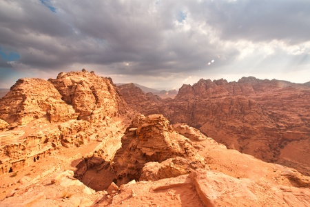 At mountain top in Petra Stock Photo - 13344902