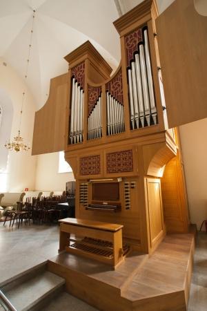 Beautiful Church organ in the tample Stock Photo