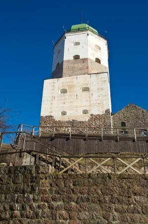 Ancient  city tower in the Viborg  Russia Stock Photo - 13639911