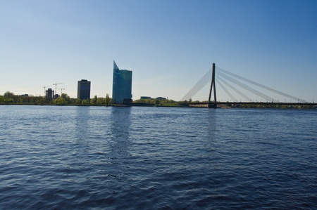 The beautiful big bridge in the center of Riga photo