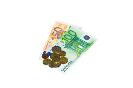 notes 100, 50 EUR and coins on a white background photo