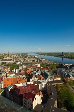 Verschiedene Arten von der Höhe auf die Stadt Riga