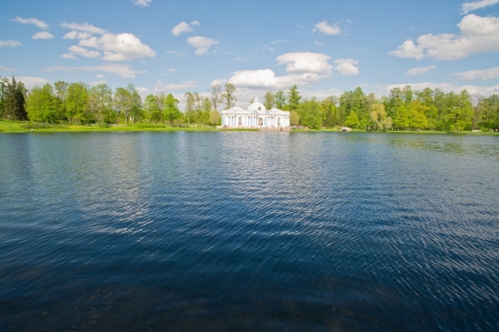 Beautiful big old house on the lake photo
