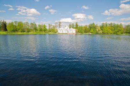 Beautiful big old house on the lake photo