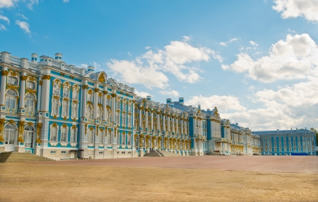 Historical place in the city of Pushkin - Catherine Palace Royal Stock Photo
