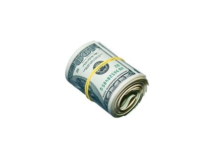 Stranded stack dollar bills on white background Stock Photo - 14570185