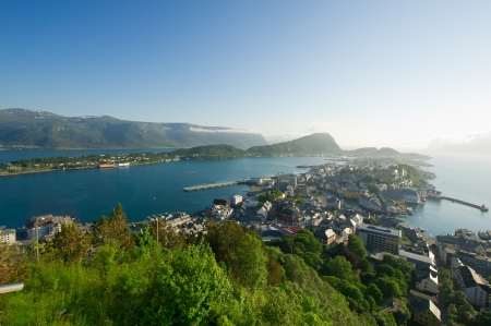 Norwegian town of Alesund at the top photo