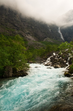 Waterfalls and mountain streams of nature Norway photo