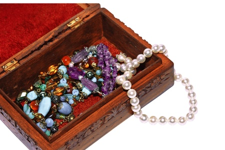 Arrangement of decorative casket with jewelry photo