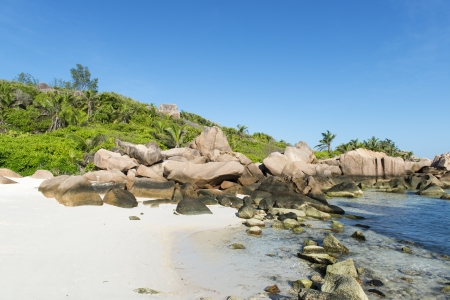 Tropical beach La Digue islans at Seychelles - vacation background photo