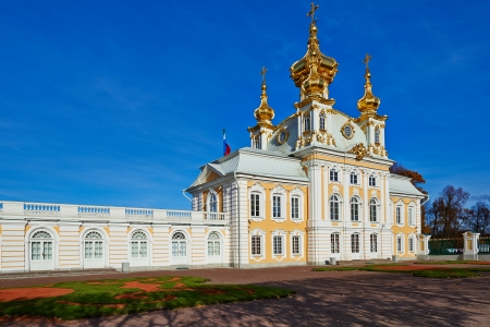 The ancient architecture of the city park of Peterhof. Golden Autumn. Stock Photo