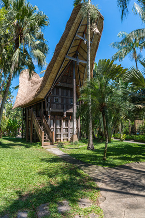 Wooden bungalow on a tropical beach resort on Bali, Indonesia