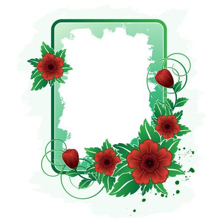 Rectangular frame with red flower Vector
