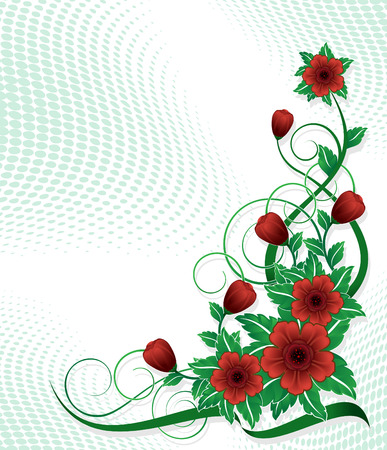 Corner with red flower Illustration