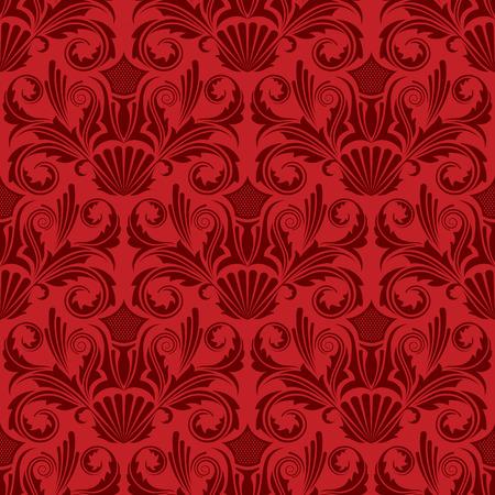 damask wallpaper: Red seamless wallpaper Illustration