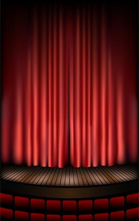 cortinas rojas: escenario de teatro