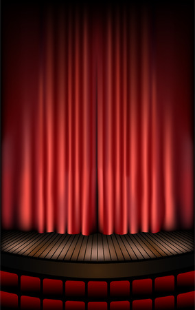 curtain theatre: theatre stage Illustration