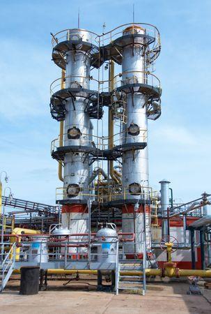 destilacion: Industria del gas Foto de archivo