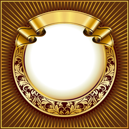 scroll banner: Gold vintage circle frame with ribbon Illustration