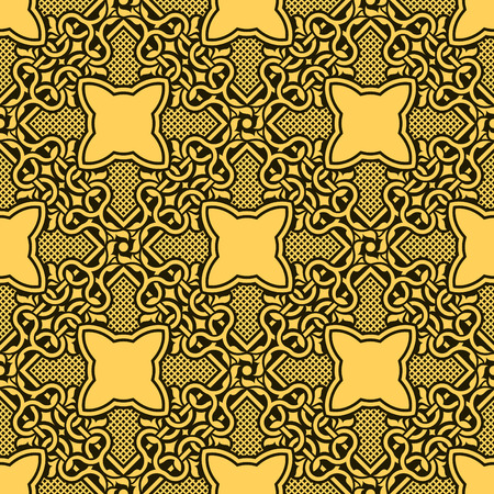 Yellow seamless ornamental pattern