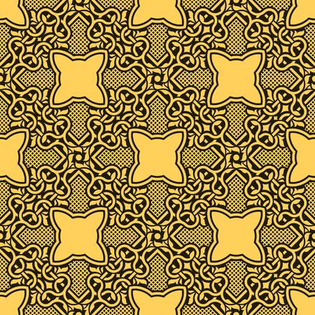 Yellow seamless ornamental pattern