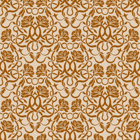 Brown seamless wallpaper pattern Stock Vector - 6688590