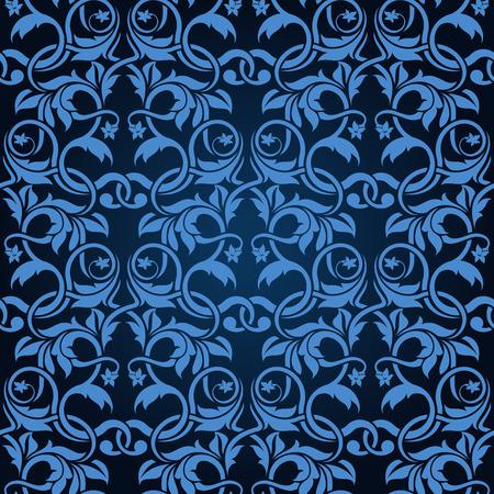 Blue seamless wallpaper pattern Stock Vector - 6688580